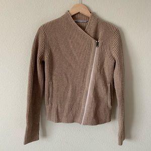 Athleta Asymmetric Zip Sweater Tan Ribbed